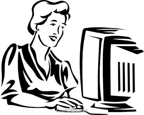 woman working at a computer Royalty Free Vector Clip Art illustration vc059949