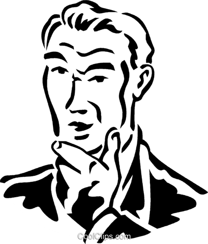 man thinking Royalty Free Vector Clip Art illustration vc059950