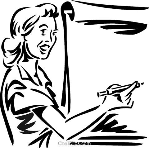 woman/teacher writing on a easel Royalty Free Vector Clip Art illustration vc059956