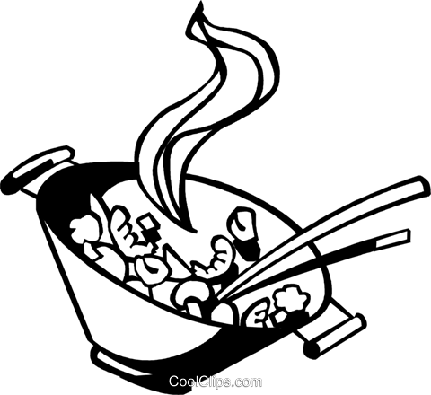 Chinese food cooking in a wok Royalty Free Vector Clip Art illustration vc059970