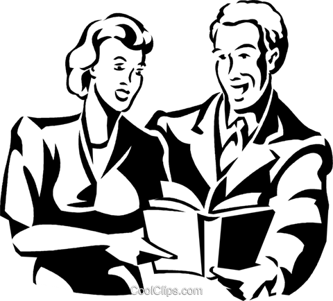 man and woman reading a book Royalty Free Vector Clip Art illustration vc059986