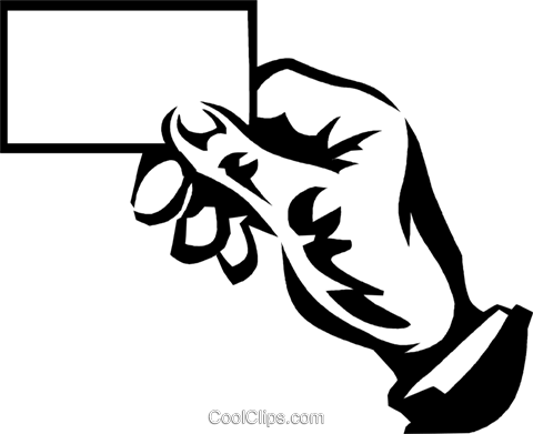 hand holding a business card Royalty Free Vector Clip Art illustration vc059989