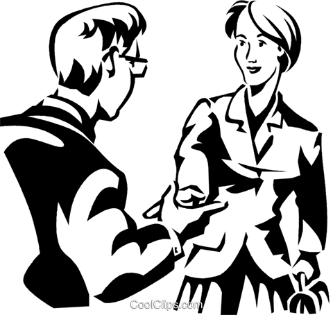 two people greeting Royalty Free Vector Clip Art illustration vc059990
