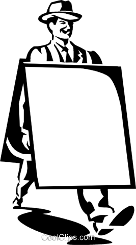 man with an advertising board Royalty Free Vector Clip Art illustration vc059999