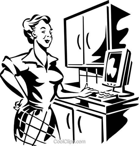 woman working on a computer Royalty Free Vector Clip Art illustration vc060003