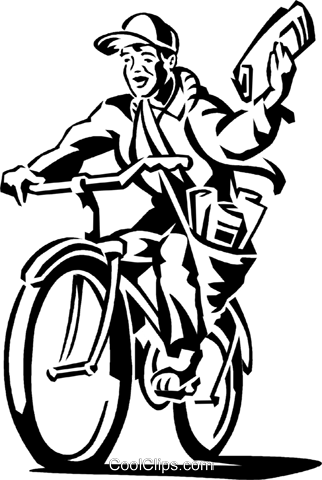 boy delivering a newspaper on his bike Royalty Free Vector Clip Art illustration vc060004