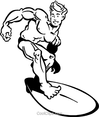 surfer Royalty Free Vector Clip Art illustration vc060010