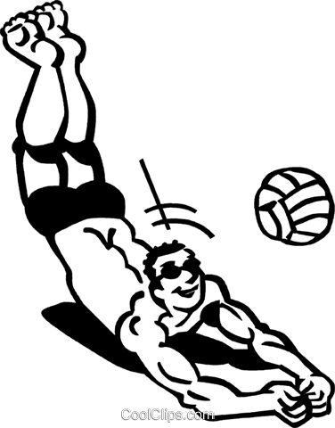 Volleyball player digging for  the ball Royalty Free Vector Clip Art illustration vc060017