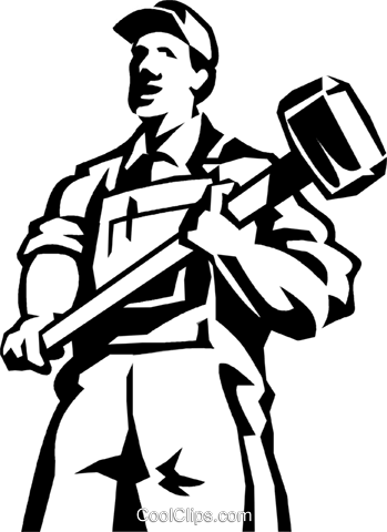 man standing with a sledgehammer Royalty Free Vector Clip Art illustration vc060019