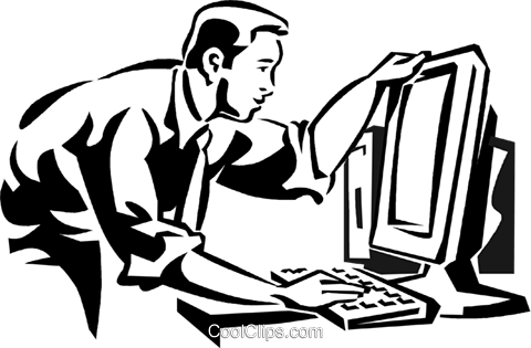 businessman working at a computer Royalty Free Vector Clip Art illustration vc060021
