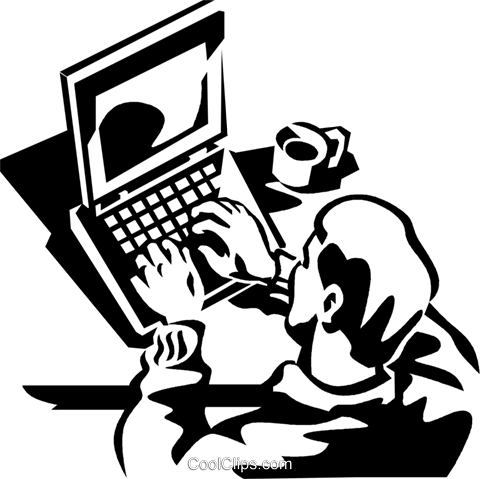 man working at a laptop computer Royalty Free Vector Clip Art illustration vc060023