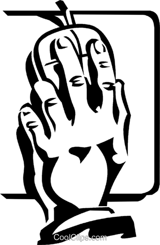 hand on a computer mouse Royalty Free Vector Clip Art illustration vc060025