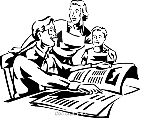 man reading morning newspaper Royalty Free Vector Clip Art illustration vc060026
