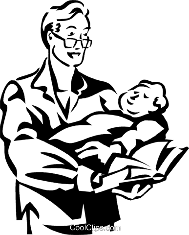 man holding a baby Royalty Free Vector Clip Art illustration vc060027