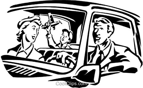 family going for a drive Royalty Free Vector Clip Art illustration vc060032