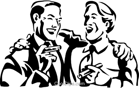 men laughing while smoking a cigar Royalty Free Vector Clip Art illustration vc060034