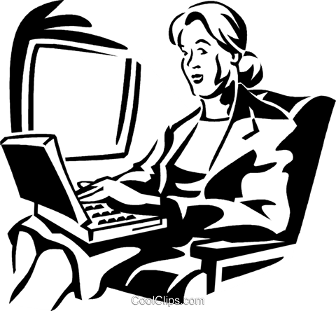 woman working on a laptop computer Royalty Free Vector Clip Art illustration vc060036