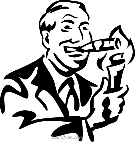 man lighting a cigar with money Royalty Free Vector Clip Art illustration vc060040