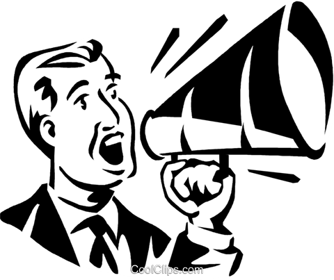 man talking into a megaphone Royalty Free Vector Clip Art illustration vc060042