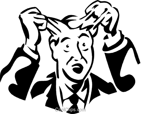frustrated man pulling out his hair Royalty Free Vector Clip Art illustration vc060046