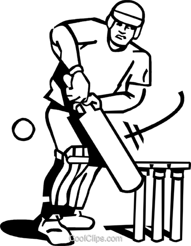 cricket player Royalty Free Vector Clip Art illustration vc060052