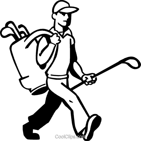 golfer with his clubs Royalty Free Vector Clip Art illustration vc060062