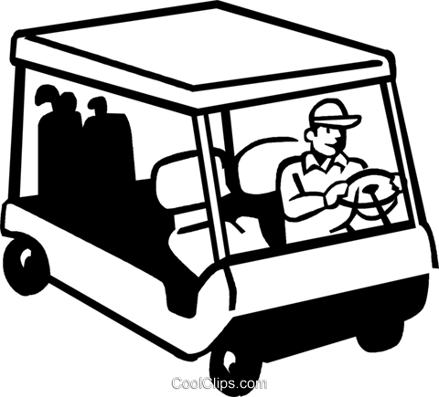 golfer driving an electric cart Royalty Free Vector Clip Art illustration vc060064