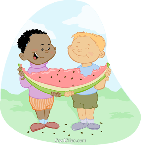 Children Eating and Drinking Royalty Free Vector Clip Art illustration vc060115
