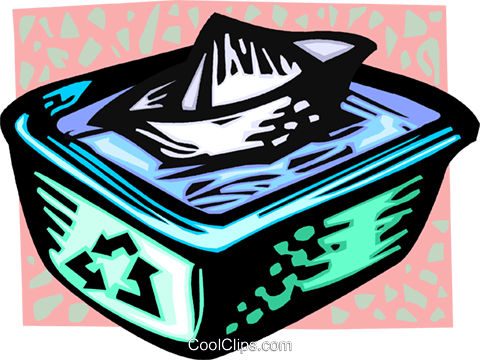 recycle box with water and a paper boat Royalty Free Vector Clip Art illustration vc060135