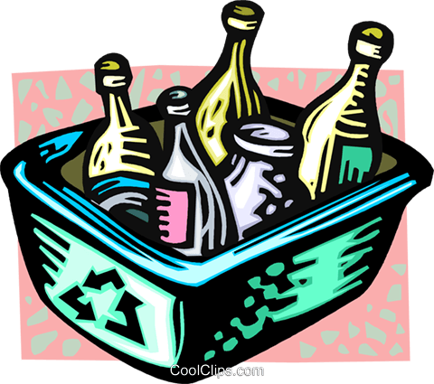 recycle box with bottles Royalty Free Vector Clip Art illustration vc060137