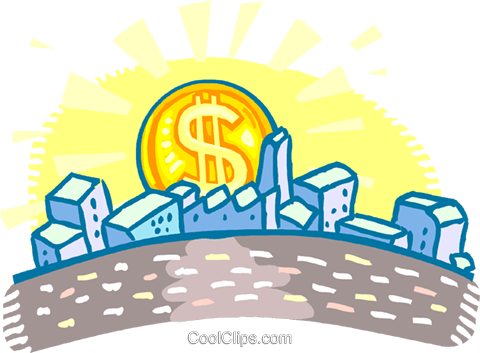 """dollar"" sun rising over a city Royalty Free Vector Clip Art illustration vc060141"