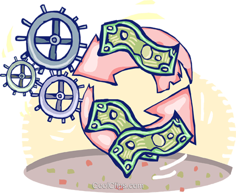 recycling money Royalty Free Vector Clip Art illustration vc060144