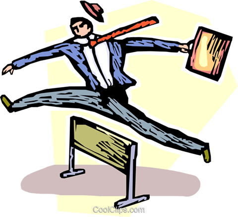businessman jumping over a hurdle Royalty Free Vector Clip Art illustration vc060159