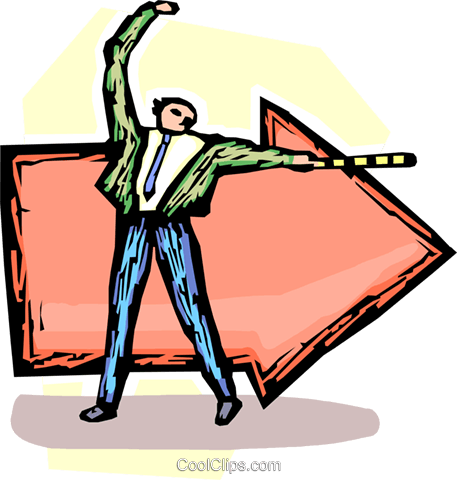 businessman pointing with arrows Royalty Free Vector Clip Art illustration vc060162