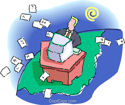 man doing paperwork at his computer Royalty Free Vector Clip Art illustration vc060218