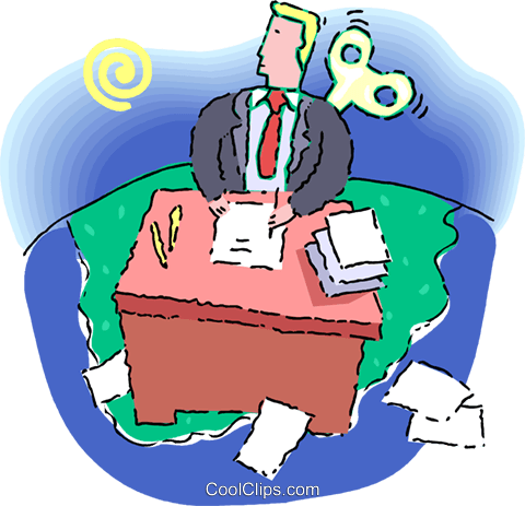windup businessman working at his desk Royalty Free Vector Clip Art illustration vc060219