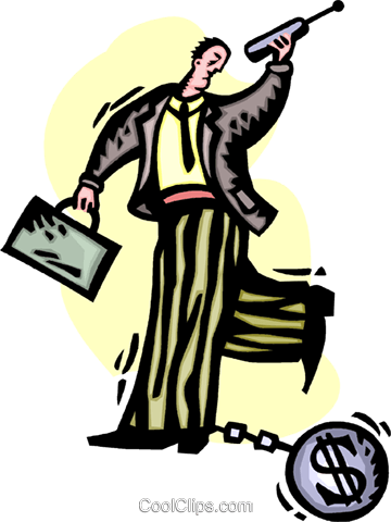 man with a financial ball and chain Royalty Free Vector Clip Art illustration vc060228