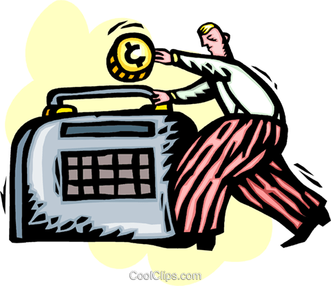 businessman putting money into savings Royalty Free Vector Clip Art illustration vc060229