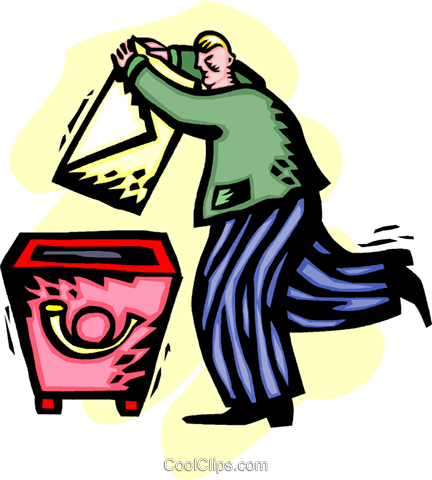 businessman mailing a letter Royalty Free Vector Clip Art illustration vc060232