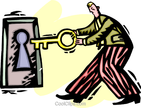 businessman locking a door Royalty Free Vector Clip Art illustration vc060235