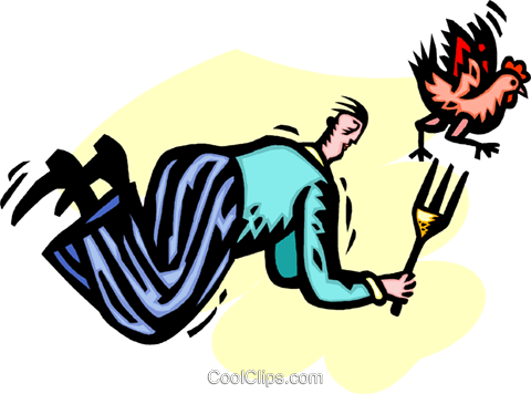 man chasing  chicken with a fork Royalty Free Vector Clip Art illustration vc060236