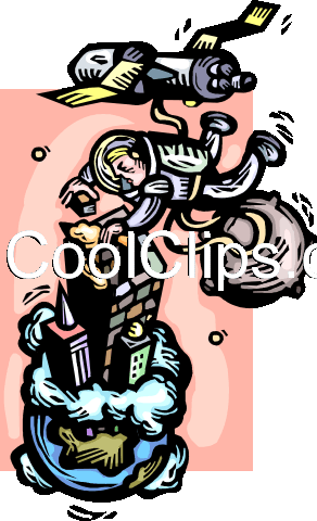 astronaut building a skyscraper Royalty Free Vector Clip Art illustration vc060245