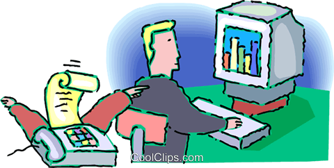 businessman working at his computer Royalty Free Vector Clip Art illustration vc060253