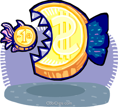 big money eating little money Royalty Free Vector Clip Art illustration vc060266