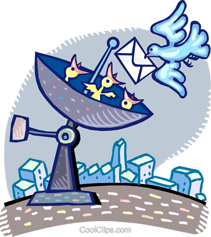 satellite dish with a bird delivering a l Royalty Free Vector Clip Art illustration vc060267