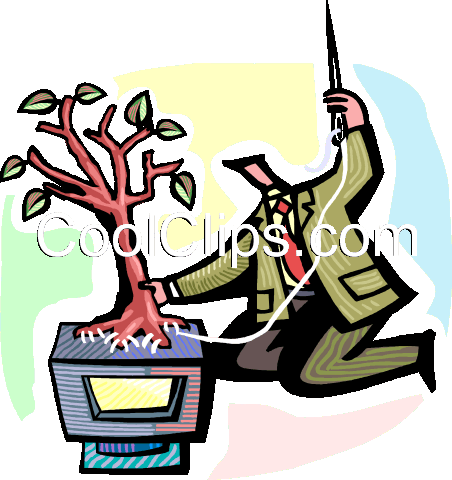 man sewing a tree onto a computer Royalty Free Vector Clip Art illustration vc060281