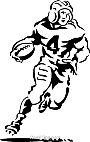 football running back Royalty Free Vector Clip Art illustration vc060289