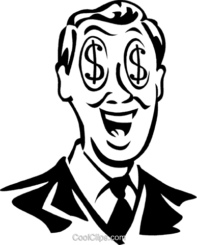 man with dollar sign eyes Royalty Free Vector Clip Art illustration vc060304