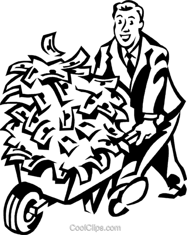 man with a wheelbarrow full of money Royalty Free Vector Clip Art illustration vc060309