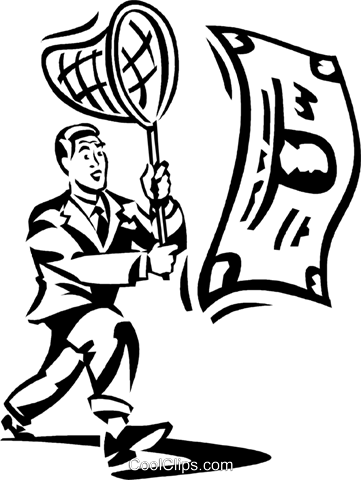 businessman chasing money with a net Royalty Free Vector Clip Art illustration vc060312